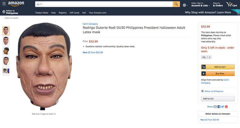 菲律宾总统发言人-杜特尔特面具